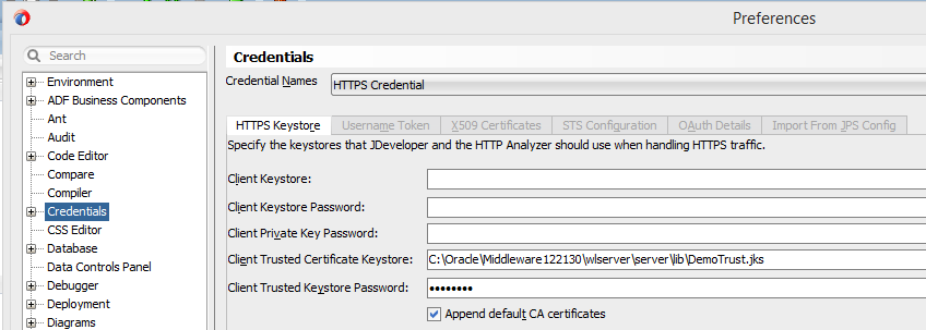 Screenshots of JDeveloper https credential configurationto fix SunCertPathBuilderException