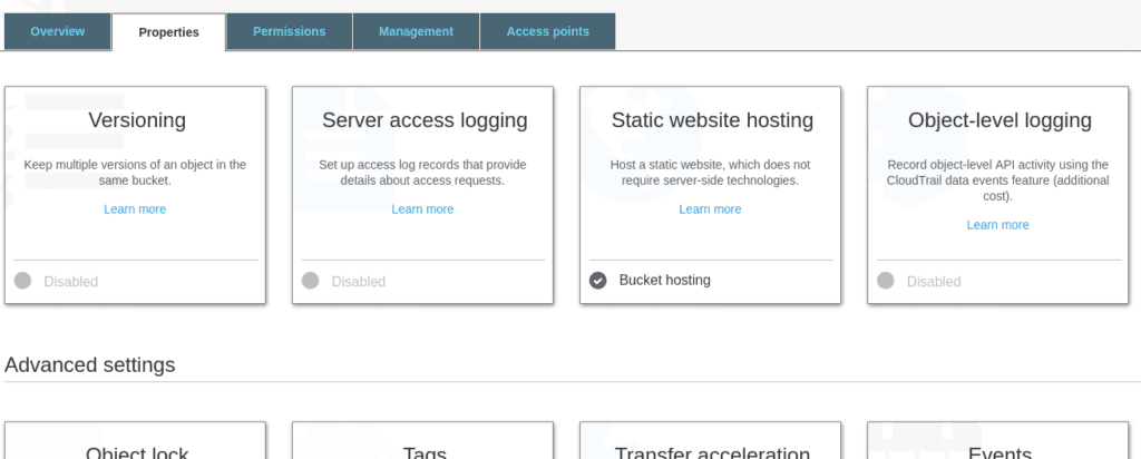 Screenshot of AWS S3 Static Website Hosting Panel