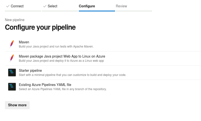 Azure Devops configure your pipeline screenshot