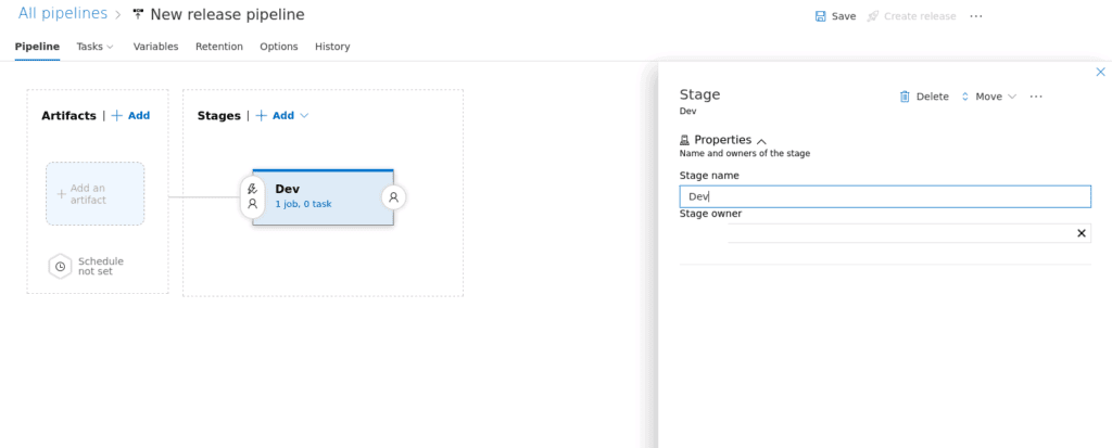 Azure Devops release pipeline add stage screenshot