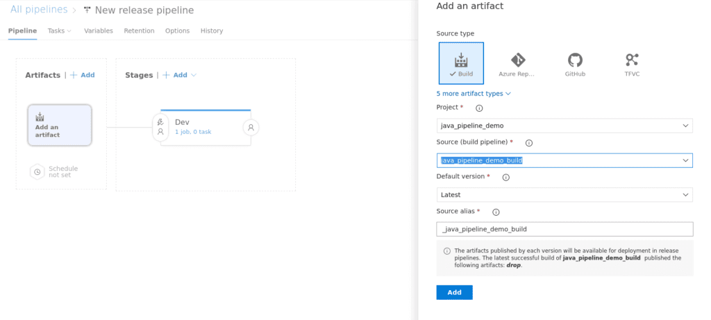 Azure Devops add an artifact to your pipeline screenshot