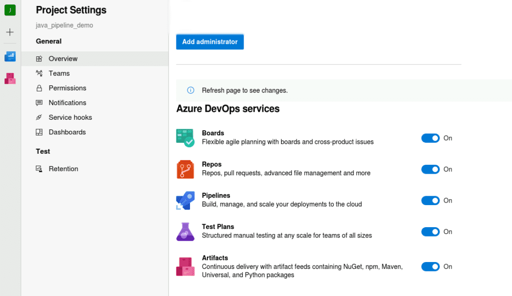Azure Devops services selection screenshot